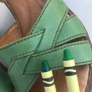"""Born Shoes - Born Sandals Green Ankle Strap Buckle 2 1/2"""" Heel"""